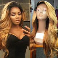 sarışın karışık dantel ön peruk toptan satış-Koyu Kökleri 1b / 613 # Mix 27 # Sarışın Vücut Dalgalı Uzun Peruk Bebek Saç Isıya Dayanıklı Sentetik Dantel Ön Peruk Siyah Kadınlar için