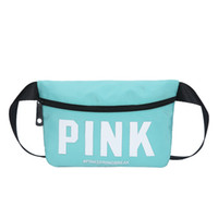 Wholesale cosmetics for men - Outdoor Sports English Letter Pink Nylon Fanny Packs Waterproof Beach Travel Cosmetic Handbag For Women And Men 16ch YB