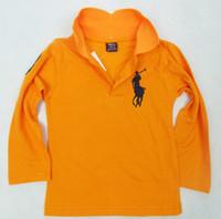 kızlar uzun pamuklu üstler toptan satış-1-15 yıl! Marka Çocuklar T gömlek Klasik Çocuk T Shirt Erkek Giyim Kız Pamuk Tees Tops Katı Renk Erkek Polo Uzun kollu t Gömlek
