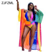 strand outfits frauen großhandel-ZJFZML Farbblock Sexy 2 Zweiteiler Damen Tiefem V-Ausschnitt Mantel Einteiliger Bodysuit + Volle Hülse X-Langen Mantel Sommer Strand Outfit