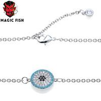 pulseira em forma de peixe venda por atacado-Magia peixe pulseiras de cobre embutidos de zircão em forma de olho acessórios encantos amantes do sexo feminino presentes braceletnecklace jóias femme