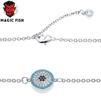Wholesale eye shaped necklace resale online - Magic Fish bracelets copper inlaid zircon round eye shape accessories charms lovers female gifts bracelet necklace jewelry femme
