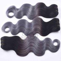 ombre remy insan saç uzantıları dokuma toptan satış-Düz Virgin İnsan Saç 3/4 Paketler Ombre 1b / gri Perulu İnsan Saç Dokuma Gri Ombre Saç Uzantıları Olmayan Remy