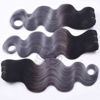 Wholesale virgin gray hair weft resale online - Straight Virgin Human Hair Bundles Ombre b gray Peruvian Human Hair Weave Gray Ombre Hair Extensions Non Remy