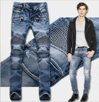 Men Distressed Ripped Jeans Fashion Designer Straight Motorcycle Biker Jeans Causal Denim Pants Light folds Runway Rock Star Jeans