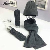 модные рукавицы оптовых-3 шт. женская зимняя вязаная шапка шапка шляпа шарф перчатки наборы мода твист полосы Cap Gorros капот шерсть ручной вязание шарф