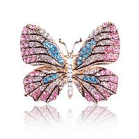 gelinlik broşları toptan satış-Qcoolly 2017 yeni yüksek kalite moda renkli rhinestone kelebek broş pin altın kadınlar dress düğün gelin broş pin