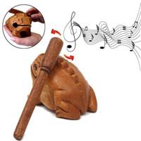 instrumento animal al por mayor-Madera Animal Money Frog Clackers Kids instrumento musical de percusión de juguete de regalo envío gratis