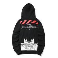 hip hop street mens ropa al por mayor-OFF venta caliente BLANCO de Alta calidad suelta hombres y mujeres con capucha suéter castillo de impresión diseñador de lujo para hombre con capucha moda hip hop Street clothing