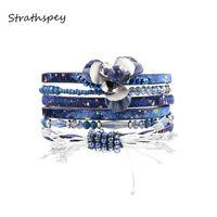 синие браслеты оптовых-STRATHSPEY браслет мода элегантные женщины мульти строки лепесток цветок PU пены обернуть браслет черный темно-синий красный коричневый