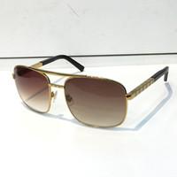 frames pc großhandel-Luxus Haltung Sonnenbrille für Männer Mode 0260 Design UV Schutz Objektiv Platz Full Frame Gold Farbe vergoldet Rahmen mit Paket kommen