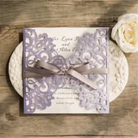 Wholesale european wedding invitations - 2018 European Classic Romantic Lavender Laser Cut Wedding Invitations With Grey Ribbon Bows,Free shipping t