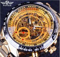 Wholesale Winding Clock - Winner Brand New Fashion Gold Watch Stylish Steel Men Male Clock Classic Mechanical Self Wind Wrist Dress Skeleton Watch Gift