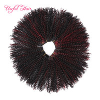 Wholesale synthetic curly hair wefts - 2018 new arrival Double machine weft Synthetic hair extensions kinky curly hair bundles 12inch Brazilian hair bundles high quality wefts