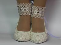 zapatos de novia de marfil de encaje al por mayor-Cordón blanco marfil cristal perla punta abierta Zapatos de boda Talón de novia talla 5-9