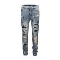 yama özgür bisikletçisi toptan satış-Slim Fit Pullu Yama Kot Pantolon Sıkıntılı Biker Jeans Justin Bieber Sprey Boya Ücretsiz Kargo