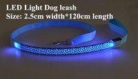 Wholesale rechargeable led dog collar for sale - B05 Leopard Pet dog LED leahses leads pet traction rope pull strap for dogs cats cm length battery and USB Rechargeable