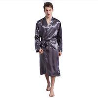 Wholesale men s silk pajama - LANBAOSI Men's Stain Silk Pajama Solid Silk Sleepwear Long Sleeved Sexy Modern Style Soft Cozy Satin Men Summer Nightwear F50