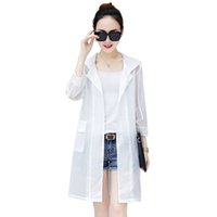 Wholesale sun protection women s clothing online - New Summer Trench Coat Women Hooded Windbreaker Woman Mid Long Thin Sunscreen Outerwear Beach Sun Protection Clothing