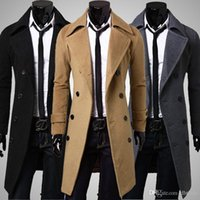 Wholesale trench down - New Brand Men's Long Fittness Coat Men's Wool Coat Turn Down Collar Double Breasted Men Trench Coat Black Brown Grey 3 Colors