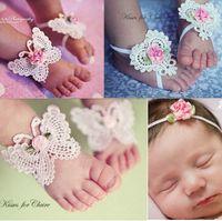 Wholesale flower feet accessories online - Cute baby girls newborn baby butterfly headband headdress foot flower set children photography prop accessories