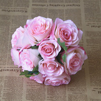 hot pink braut blumenstrauß groihandel-Günstige viele Farbe Blumen High Level Land Hochzeit Brautstrauß mit Mix künstliche Rose Blume Freies Shiping Stil für Hochzeit