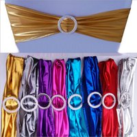 Wholesale diamond chair sash - Metallic Gold Spandex Chair Bands With Diamond Buckle Chair Cover Sash Chair Band In Chair Cover For Wedding Events Decoration