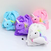 Sundries Doll Storage Boxes   Drawstring Bag Cartoon Unicorn Plush  Threedimensional Pony Doll Small Change Shrink