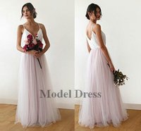 Wholesale spaghetti strap skirt top - A Line Tulle Bridesmaid Dresses Long Spaghetti Straps V Neck Lace Top Tulle Skirt Floor Length Elegant Women Party Dresses for Weddings