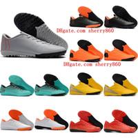 ingrosso scarpa nera cr7-2018 scarpe da calcio indoor VaporX XII Academy TF IC CR7 neymar scarpe da calcio Ronaldo mens basse tacchetti da calcio Mercurial Superfly arancione Nero