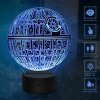 Wholesale table gifts for weddings - Death Star 3D USB LED Night Light Lamps 3D Optical Illusion 7 Colors Touch Table Desk Visual Lamp Gifts Toys for Children Kids