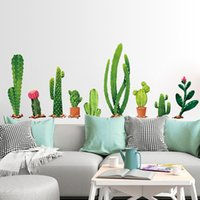 Wholesale bedroom border - green cactus decal fridge furniture stickers pot plant wall poster waist line border mural modern room accessories
