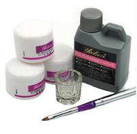 kits de prothèses acryliques achat en gros de-Vente en gros - Vente chaude Pro Acrylique Nail Poudre Liquide 120ML Brosses Deppen Plat Acryl Poeder Nail Art Ensemble Design Acrilico Manucure Kit 153 #
