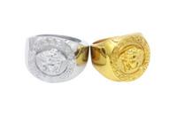 hochwertige vergoldete ketten großhandel-2018 neuer Hip Hop Medusha Ring mit Korn-Kette 24K Gold überzogen, hign Qualität und freies Verschiffen