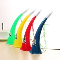 Wholesale wholesale sports horns - 2018 FIFA World Cup Carnival Toy Fan Refueling Ox Horn Color Funny Plastic Toys New Arrival 1 25hd W