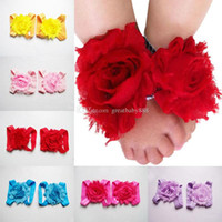 pies de niño al por mayor-Pies para niños pequeños flor sandalias de bebé zapatos de flores de gasa 2018 nuevo bebé First Walkers accesorios de fotografía C3424