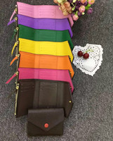boks şort kadınları toptan satış-2018 Toptan Lady Sıcak Renkli Yeni Sikke çanta kısa Cüzdan Renkli Kart Sahibinin Orijinal Kutusu Kadın Klasik Fermuar Cep tarih kodu