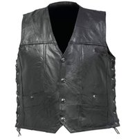 ingrosso busti di pelle-Harley Knight Riding Vest S-4XL Plus Size Uomo Gilet Uomo Professional Motorcycle Leather Vest Fashion Busto in pelle Mediation Cowskin Bike