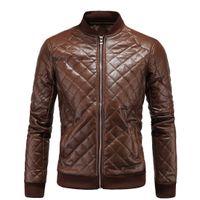 high-end-motorradjacken großhandel-2018 Herren England verdicken neue Ankunft Schlank Motorrad Lederjacke Herren High-End-Boutique Punk Jacke 5XL