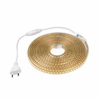 neon dize ışıkları toptan satış-Su geçirmez 120LED / M 220 V 2835 SMD LED şerit işık AB tak LED Dize Noel ışık Neon Bant 5 m 15 m 20 m 25 m 30 m Tatil lambası