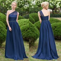 Wholesale garden party dresses - Dark Navy Women Chiffon Bridesmaids Dresses Garden Boho Wedding Guest Party Gowns A Line Sheer One Shoulder Long Maid of Honor Wear BM0148