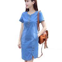 robes coréennes plus achat en gros de-Korean Denim Dress pour femmes New Summer Casual Jeans Dress avec bouton Plus Size Sarafans Robe Feminino LZ181