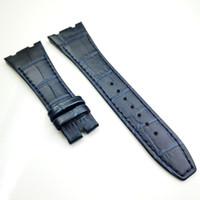 banda dark venda por atacado-26mm / 18mm luxo azul escuro de alta qualidade bezerro pulseira de couro banda para AP AudemarsPiguet Royal Oak