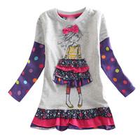 ingrosso vestiti del bambino per la vendita-le ragazze dei bambini del fumetto vestono i vestiti del bambino di vendita calda dei vestiti dei bambini 2-6T dei vestiti lunghi dei bambini di modo casuale