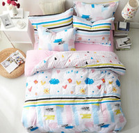 Wholesale american girl bedding set resale online - Pink Blue Cartoon Bedding Set for Girls Cute Bedding Supplies with Pillow Case Bedding Sheet Duvet Cover