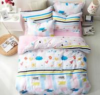 almohadas lindas para las niñas al por mayor-Rosa azul de dibujos animados conjunto de ropa de cama para niñas Cute 4 piezas de ropa de cama con funda de almohada Sábana Funda de edredón