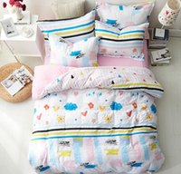 ingrosso biancheria da letto per ragazze-Set biancheria da letto di cartone animato rosa blu per ragazze Carino 4 pezzi di biancheria da letto con copri-lenzuola Copripiumino