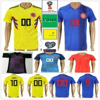 Wholesale colombia shorts - 2018 Colombia World Cup Soccer Jerseys Uniforms Yellow White Blue 10 JAMES 9 FALCAO 11 CUADRADO 8 AGUILAR 13 GUARIN Custom Football Shirt