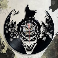 batman relógios de parede venda por atacado-Super Cool Hot Vinyl Record Conceito Relógio de Parede Tema Batman CD Relógios de Vinil Horloge Murale Decorativo Design Moderno