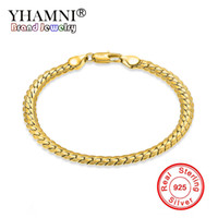 Wholesale Silver Snake Chain 5mm - YHAMNI Men&Women Gold Bracelets With 18KStamp New Trendy Pure Gold Color 5MM Wide Unique Snake Chain Bracelet Luxury Jewelry YS242